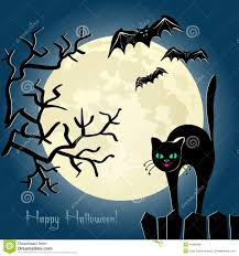 black cat on a fence in front of the moon stock vector