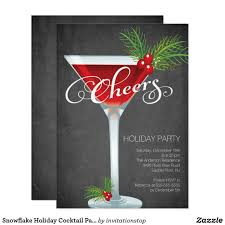 christmas cocktail party snowflake holiday cocktail party invitation cocktail party