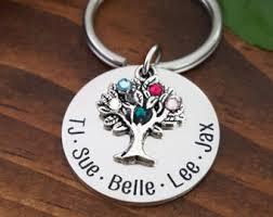 personalized birthstone keychains keychain etsy