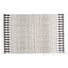 Flat Weave Cotton Area Rugs White Black Cotton Block Print Area Accent Flat Weave Woven