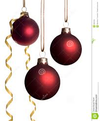 hanging ornaments with gold ribbon stock image