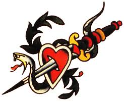 sailor jerry vintage tattoo designs snake dagger heart