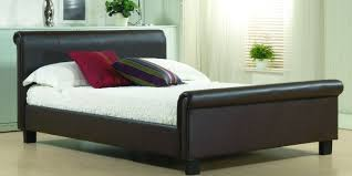 White Leather Sleigh Bed Bedrooms Modern Bedrom With Black Sleigh Bed And Red Also White