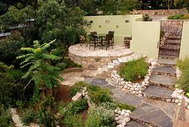 Backyard Stone Patio Designs by Backyard Landscapes With Natural Stone Patio Designs