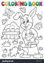 coloring book rabbit gardener theme 2 stock vector 586376918