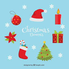 various christmas elements in flat design vector free download
