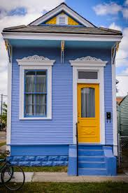 architecture exciting blue shotgun house with yellow single main
