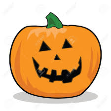 cartoon illustration of a carved pumpkin for halloween royalty