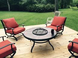home depot gas fire pit black friday hampton bay redwood valley 5 piece patio fire pit seating set with