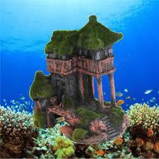 aquarium resin moss ancient house fish tank ornament fish shrimp