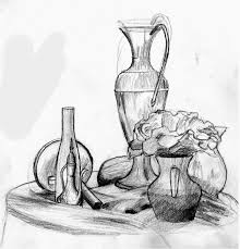 Pencil Sketch Of Flower Vase Popular Items For Skull Drawing On Etsy Art Drawings With