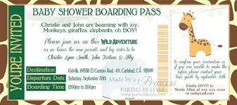 boarding pass invitations jungle boarding pass baby shower invitation
