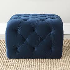 Button Tufted Ottoman Tufted Navy Blue Velvet Cube Ottoman