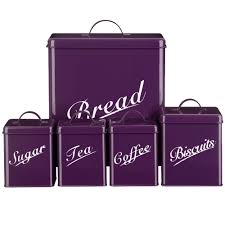 5 piece canister set bread bin sugar coffee tea biscuits tin by