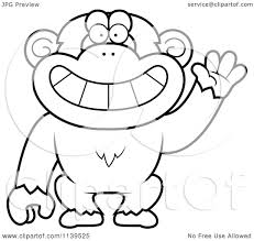 cartoon clipart of a black and white friendly waving chimp monkey