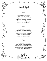 printable lyrics free printable lyrics for silent night