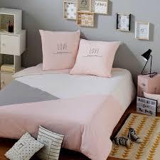 chambre gris et rose parure de lit en coton gris et rose 140x200cm joy lit superpose