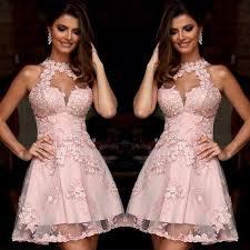 graduation dresses halter applique lace homecoming dresses 2017 pink