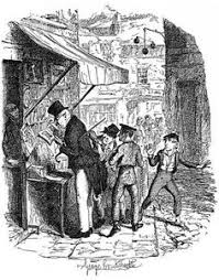 george cruikshank illustration of a book shop from charles