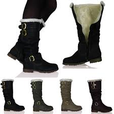 womens boots zip up womens fully fur lined zip up buckle detail warm boots