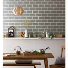 Dado Tiles For Kitchen Metro Sage Wall Tile 200 X 100mm 25 Pack At Homebase Be