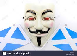 Scotland Flags Guy Fawkes Mask And Scotland Flags Stock Photo Royalty Free Image