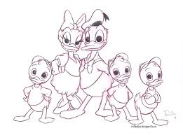 drawn duck family drawing pencil and in color drawn duck family