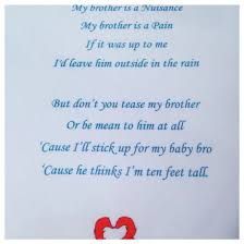 a cute poem at my naming ceremony my brother is a nuisance baby