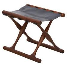 danish teak and leather folding tripod safari stool at 1stdibs