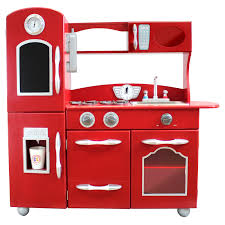 teamson kids retro wooden play kitchen with refrigerator freezer
