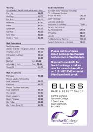 hairstyle price list bliss sandwell college