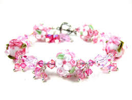 pink glass bead bracelet images Floral jewelry pink white floral bracelet lampwork bracelet jpg