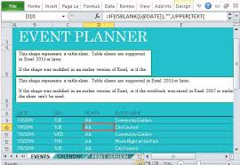 community events planner for excel