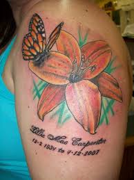 memorial butterfly with hibiscus on left shoulder