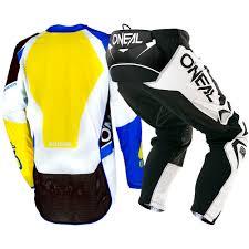 one motocross gear new oneal 2018 mx hardwear flow blue yellow jersey pants motocross