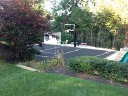 backyard basketball half court in beautiful ny countryside