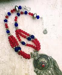long blue necklace images Vintage kuchi necklace antique afghan necklace nomad silver JPG