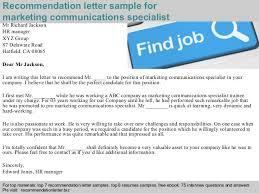 communication letter writing pdf marketing communications specialist recommendation letter