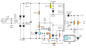 12v 5 amp transformerless battery charger circuit smps based