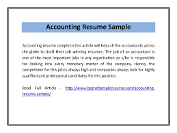 Example Of Accountant Resume by Accounting Resume Sample Pdf