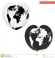 World Map Black And White Heart Shape World Map Stock Vector Image 69995152