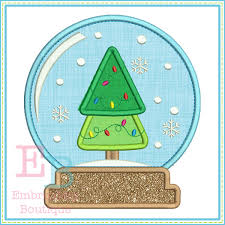tree snow globe applique