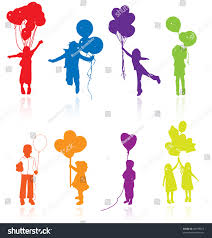 party silhouette kid silhouette balloon party vector draw stock vector 40795912