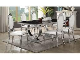 chrome dining room sets antoine black tempered glass chrome dining table set shop for