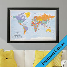 Canvas Map Of The World by World Travel Map With Pins Blue Oceans On Canvas Push Pin Travel