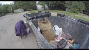 Seeking Dumpster Seeking Food In The Garbage Poor Dressed In