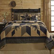 Patchwork Comforter Dakota Tan Black Star Primitive Country Patchwork Quilt Shams