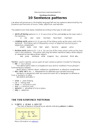 10 sentence patterns verb preposition and postposition