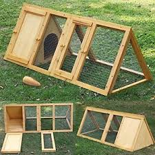 4ft outdoor rabbit hutch and run wooden guinea pig bunny pet house