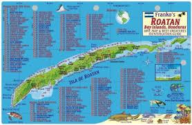 map of roatan honduras amazon com roatan honduras dive map reef creatures guide franko